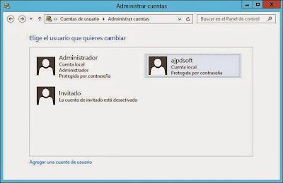 Crear usuario administrador en W2012 para no usar el propio usuario