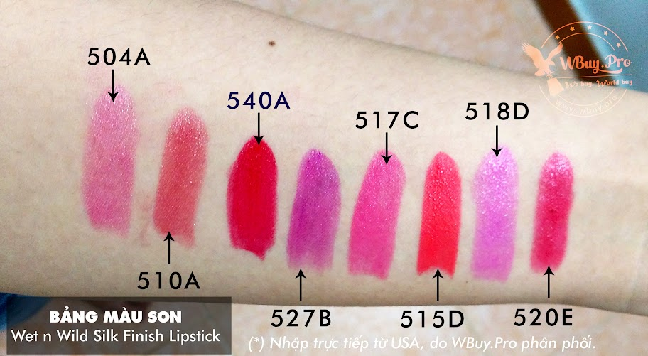 Bảng màu Swatch - Son Wet n Wild Silk Finish Lipstick