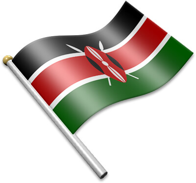 The Kenyan flag on a flagpole clipart image