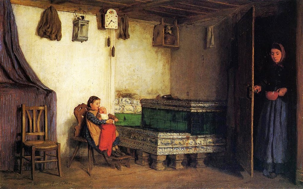 Albert Anker - An Interior with Mother and Children