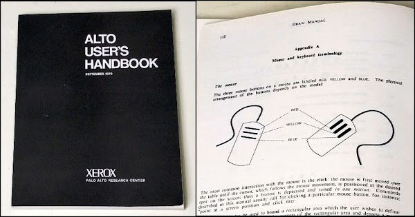 The Alto User's Handbook was created using the Alto's desktop publishing software, including Bravo and Draw. The closeup on the right shows how typography was combined with drawings.