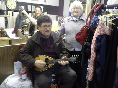 Geoff Small playing mandolin in the RSM Charity Shop - 12 Dec 2013