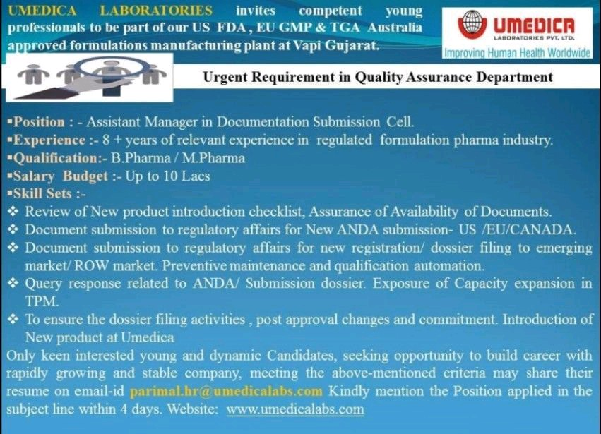 Opening For Quality Assurance Department At Umedica Labs