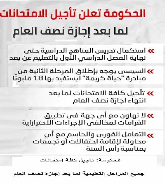 الحكومة: تأجيل كافة امتحانات جميع المراحل التعليمية لما بعد إجازة نصف العام