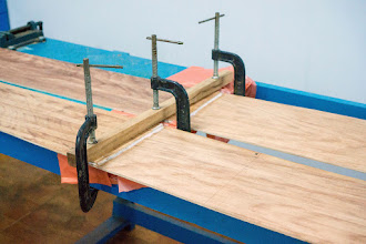 Photo: holding the joints in place using C-clamps