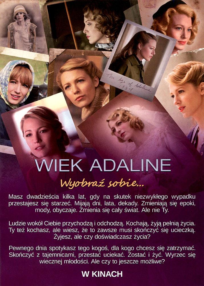 Ulotka filmu 'Wiek Adaline (tył - wersja B)'