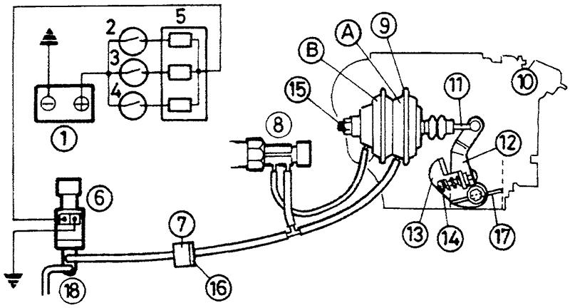 Схема системы стабилизации частоты вращения коленчатого вала при холостом ходе (двухпозиционная – модели с механической коробкой передач)