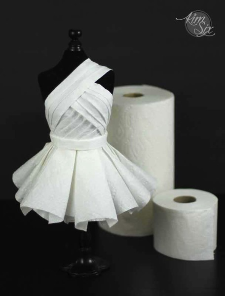 Dress made of paper towels and toilet paper