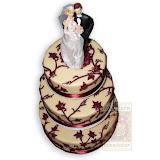 15. kép: Esküvői torták - Esküvői három szintes vőlegény és menyasszony figurás torta