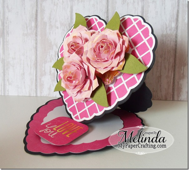 Paper Roses Flowers DCWV Haute Pink Stack SVG Heart Shaped Easel Valentine Love Card