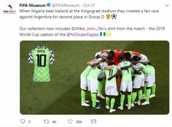 Mikel Obi's World Cup Jersey Added To FIFA Museum Collection