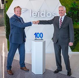 Jim Garrettson, CEO of ArchIntel and Executive Mosaic, Presents EVP, CFO Jim Reagan of Leidos His Fifth Wash100 Award
