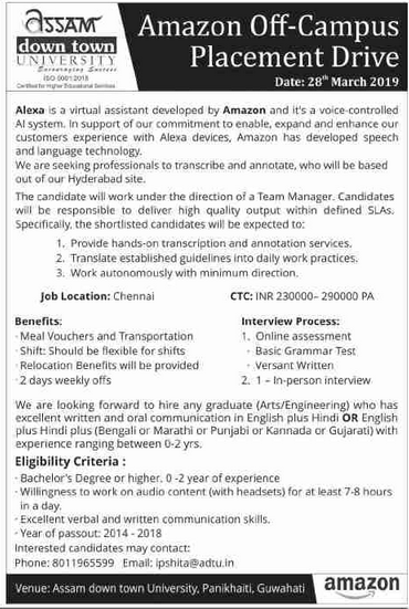 Guwahati Jobs :Amazon Off-Campus Placement Drive @Assam ...