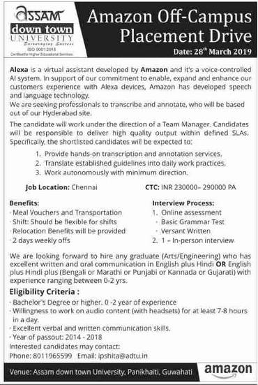 Guwahati Jobs :Amazon Off-Campus Placement Drive @Assam ...