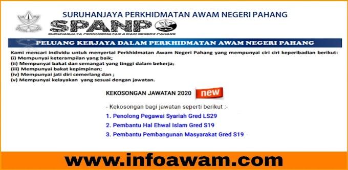 Jawatan Kosong Terkini Di Suruhanjaya Perkhidmatan Awam Negeri Pahang SPANP