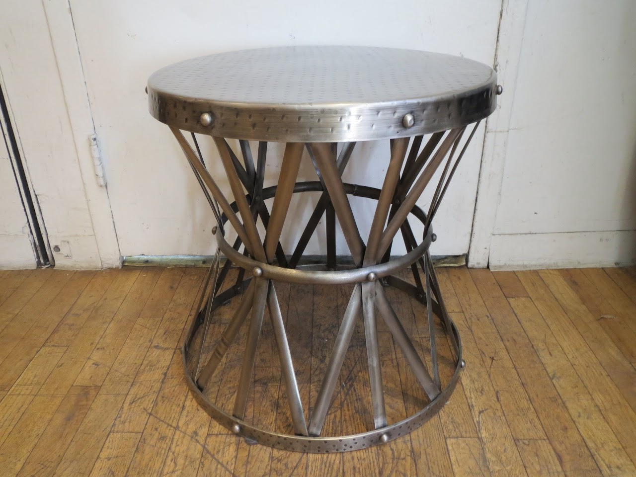 Hammered Metal End Table 1