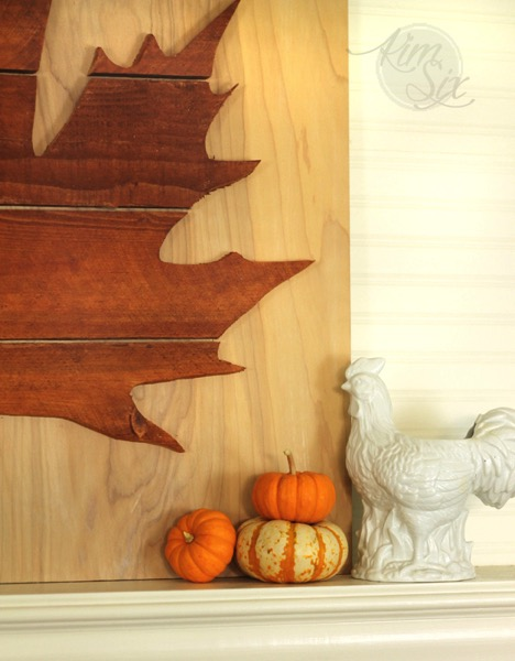 Fall mantel with leaf pumpkins and rooster