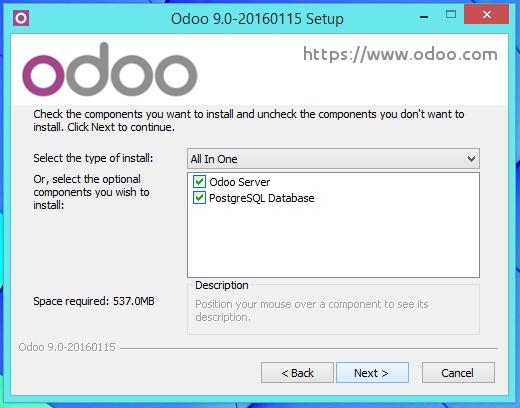 Seleccionar que componentes del Odoo 9 debe instalar