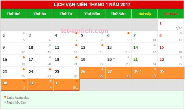 Tết 2017 ngày mấy dương lịch, Tết 2017 được nghỉ mấy ngày