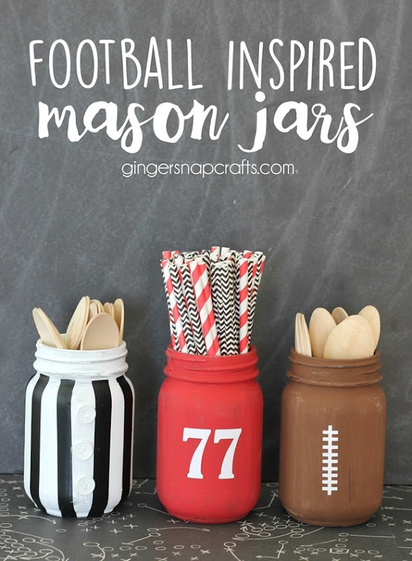 football inspired mason jars at GingerSnapCrafts.com #football #masonjars