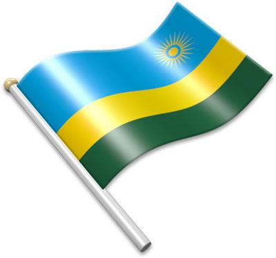 The Rwandan flag on a flagpole clipart image
