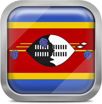 Swaziland square flag with metallic frame