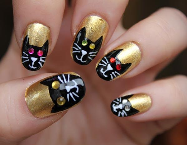 Fashionable Golden Nail Art For Girls 2017 Styles Art