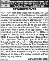 HARTRON Recruitment 2019 Supervisor Call Centre