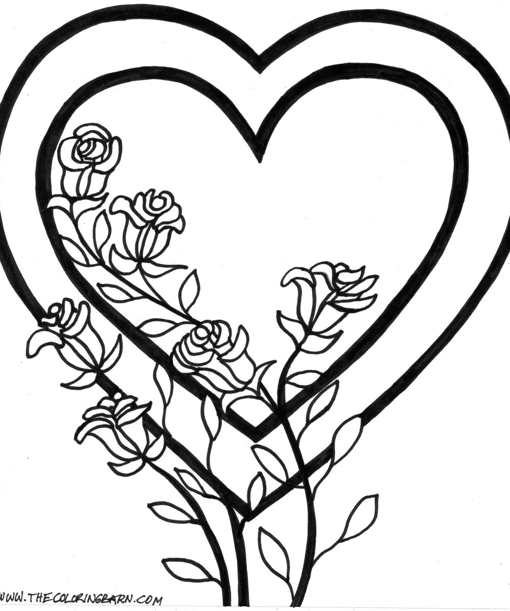 Hearts And Roses Coloring Pages Valentine Page Tied