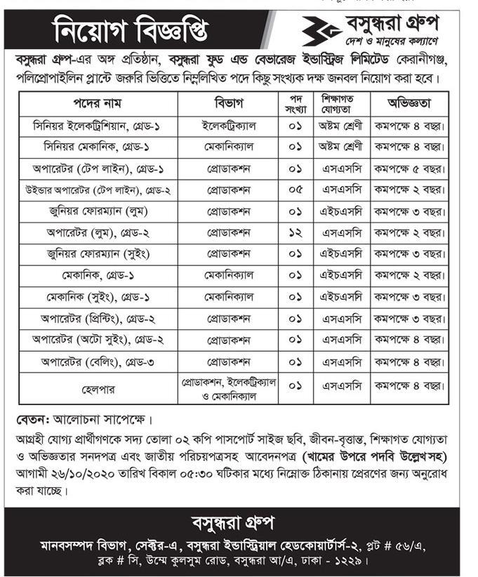 বসুন্ধরা গ্রুপে নিয়োগ বিজ্ঞপ্তি - Bashundhara Group Job Circular