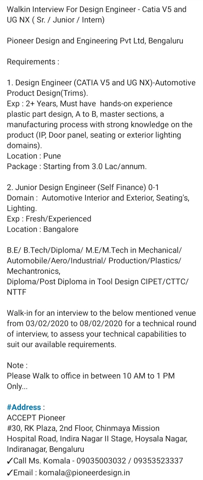 Walk In Interview At S T Engineers Pvt Ltd For Fresher Exp Engineers Engineering Jobs News