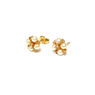 14K Gold, Diamond, and Pearl Earrings