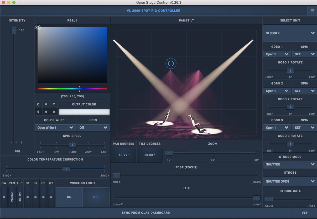 QLab Lighting profiles with custom interfaces  - Blue Room