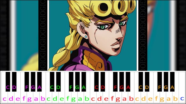 Giorno S Theme Jojo S Bizarre Adventure Piano Letter Notes