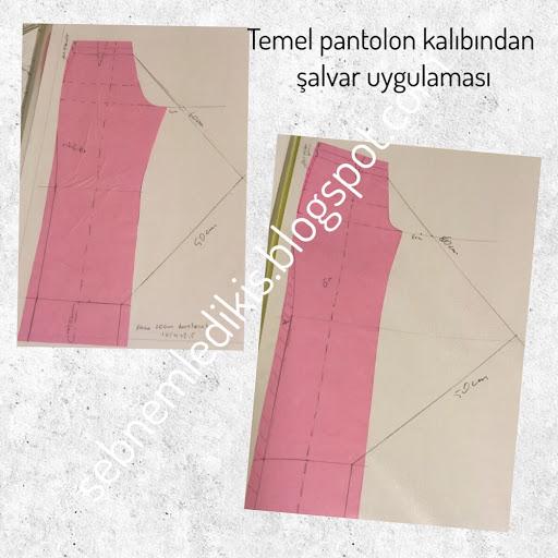 Temel pantolon kalıbından Şalvar