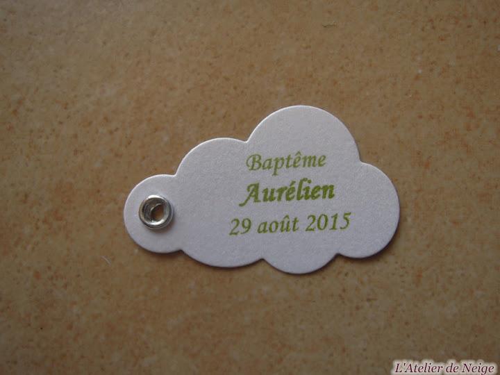 184 - Etiquettes à dragées Baptême  Aurélien 29 août 2015