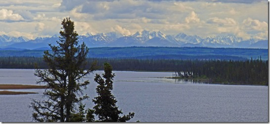 Alaska Range over Midway Lake, east of Tok, Alaska