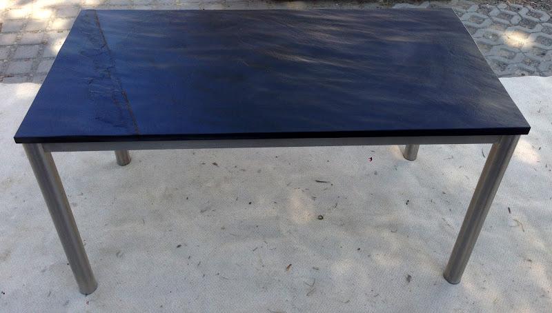Gartentisch esstisch wohnzimmertisch schiefer schwarz for Wohnzimmertisch untergestell