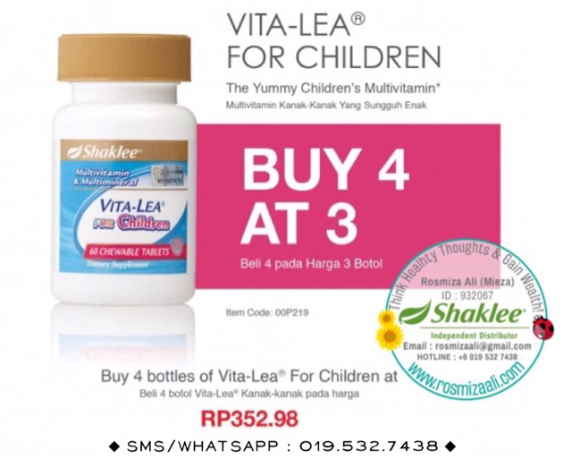 Promosi Vita-Lea For Children Shaklee, Promosi Shaklee Bulan November 2016