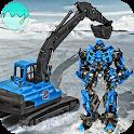 Sand Excavator Crane Transforming Robot Games icon