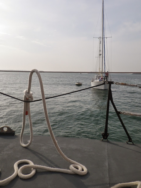Refloated yacht near the entrance to Poole Harbour - 17 September 2014.  Photo credit: Poole/RNLI