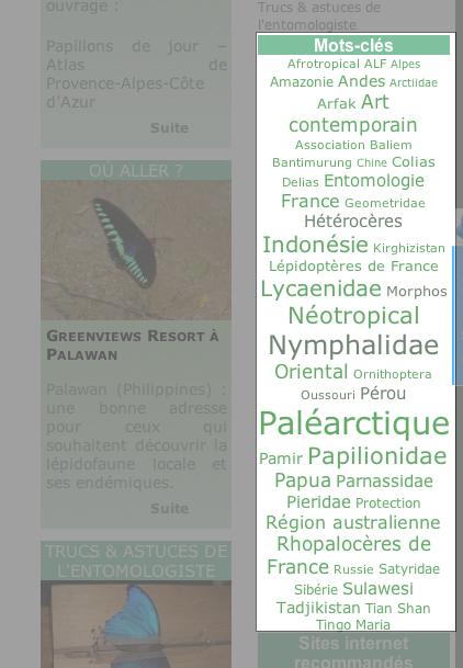 14. Utilisation des « mots-clés » (ou « tags ») :  Un mot-clé sélectionne tous les articles où il est question d'un sujet (exemple : Nymphalidae) ou d'un lieu (ex. : Pérou).