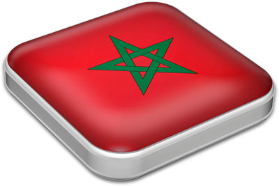 Flag of Morocco with metallic square frame