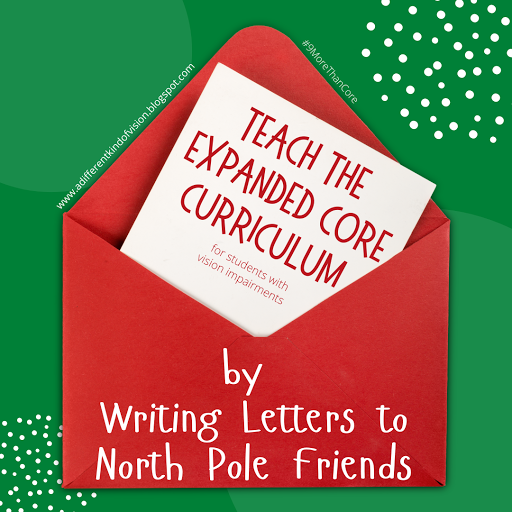 a graphic that has a big envelope that says Teach the ECC by writing to North Pole friends