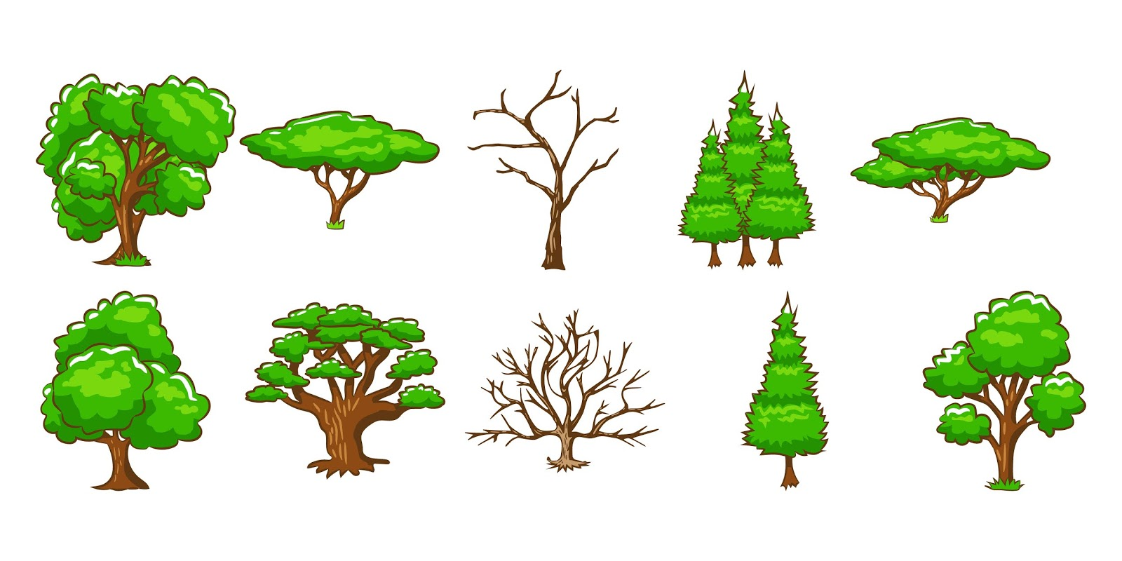 Tree Vector Set Clipart Design Free Download Vector CDR, AI, EPS and PNG Formats
