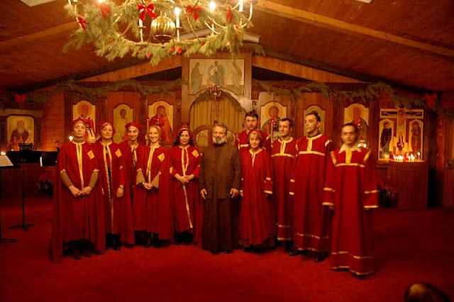 The choir of St. Nino's, with Fr. Alexandre, rector.