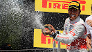 Lewis Hamilton celebrates his victory