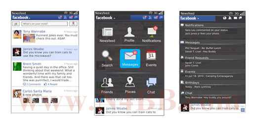 Screenshot Facebook for Blackberry 2.0
