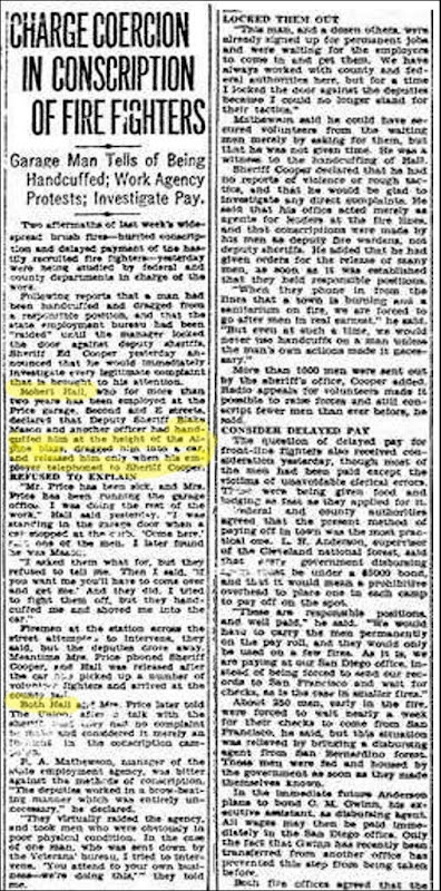 HALL_Robert_article re handcuffed_1 Nov 1929_SDUnion pg 6-hilite