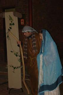 Wystwione przez mieszkańców Bucza przed kościołem przed Pasterką 24.12.2008r.